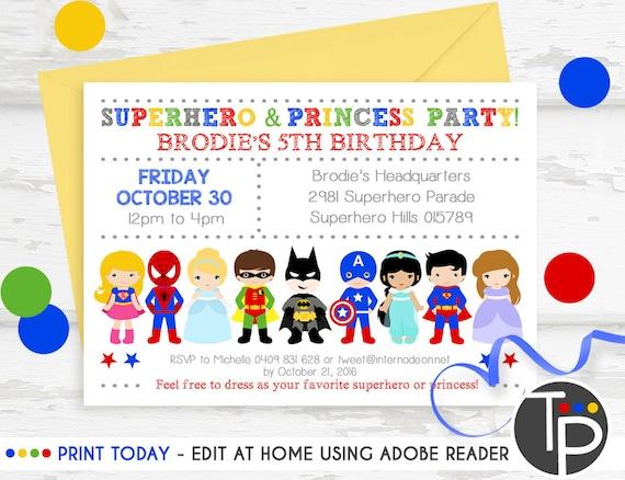 Superhero Princess Party Invitation Instant Download Etsy