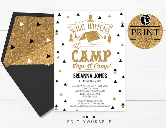 camping invitation instant download camping invitation gold etsy
