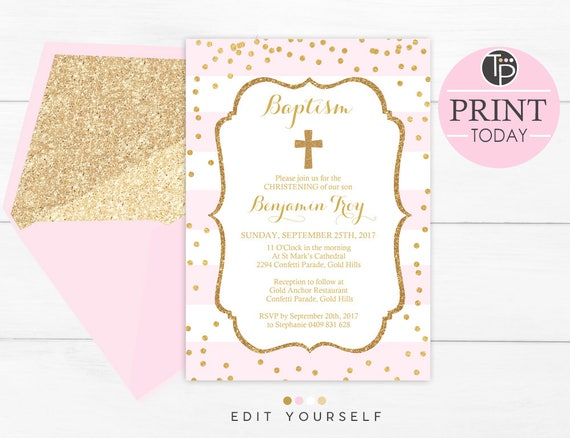 baby pink baptism invitation instant download girl baptism etsy