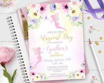 FAIRY INVITATION Instant download FAIRY Invitations Pink Fairy Party Invitation Editable Fairy Garden Birthday Invitation Printable Fairy 1F