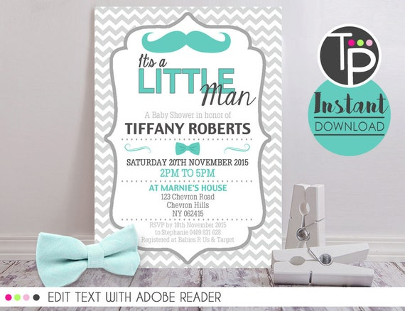Little Man Baby Shower Invitation Instant Download Baby Etsy