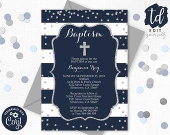 Navy Baptism Invitation Instant Download Boy Baptism Invitation Editable Navy Silver Christening invitation Silver Confetti Baptism Corjl