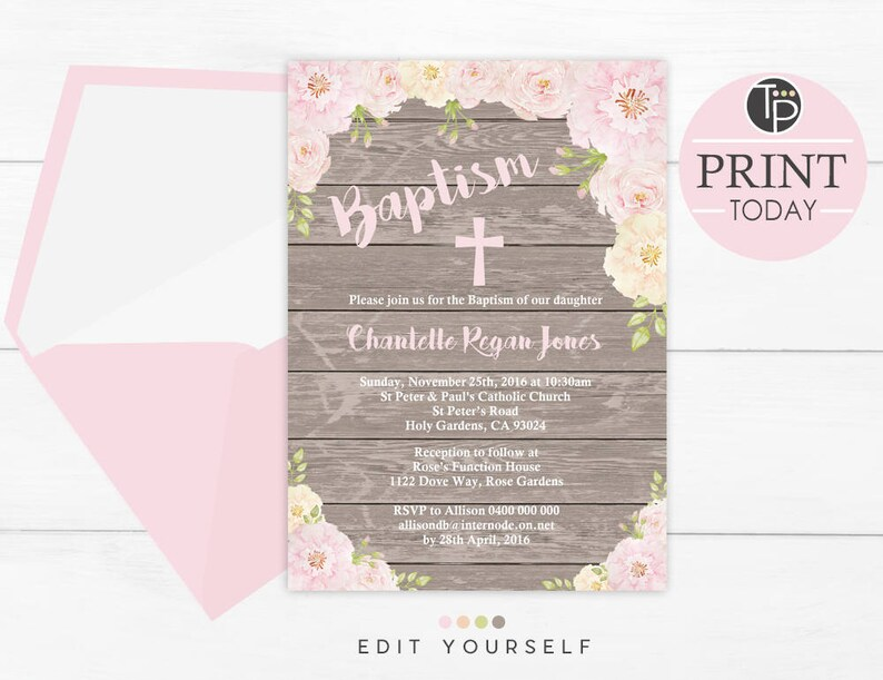 Rose Baptism Invitation Instant Download Rustic Floral Girl Invitations Wood Background