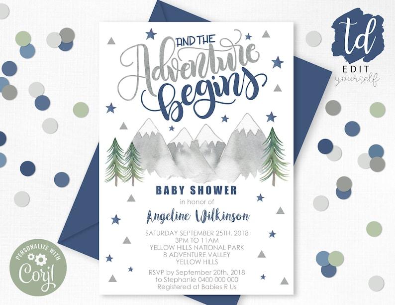 Navy ADVENTURE BEGINS Baby Shower Invitation Boy Adventure image 0