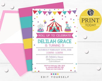 GIRL CIRCUS Birthday Invitation, Instant Download CIRCUS Invitation, Circus themed Party, Girl Circus Birthday, Pink Circus Invitation