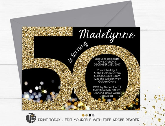 50th Birthday Invitation Instant Download Invitations Gold Glitter Adult