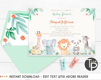 Jungle Animal BABY SHOWER INVITATION, Watercolor Jungle Animal Invitation, Baby Shower Invitation, Pastel Jungle Animal Invitation, Download