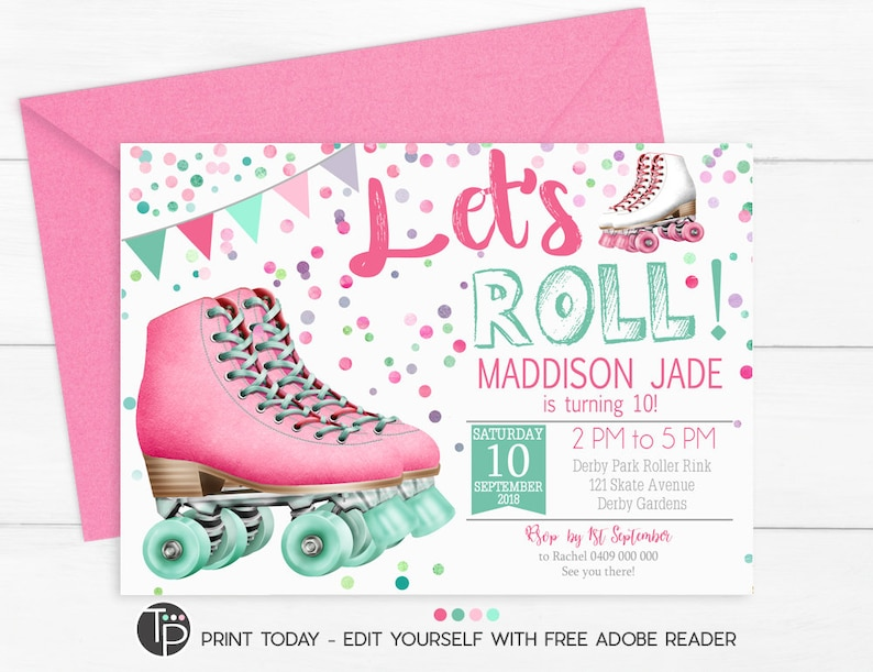 Roller Skate Invitation Roller Skate Party Invitation Roller Etsy