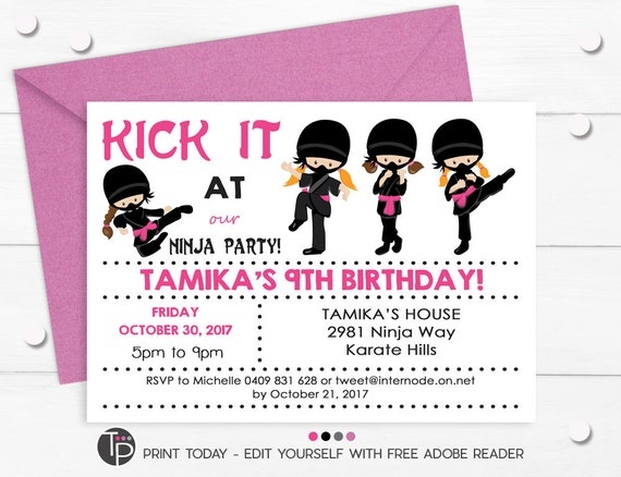 NINJA GIRL INVITATIONS Girl Ninja Party Printables Karate Invitaitons Birthday Instant Dowload Edit Yourself