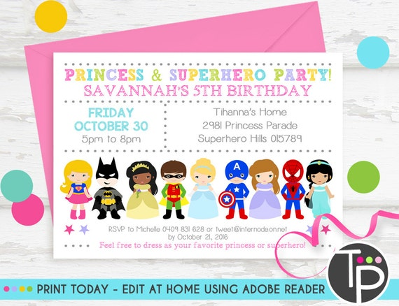 princess superhero party invitation instant download etsy