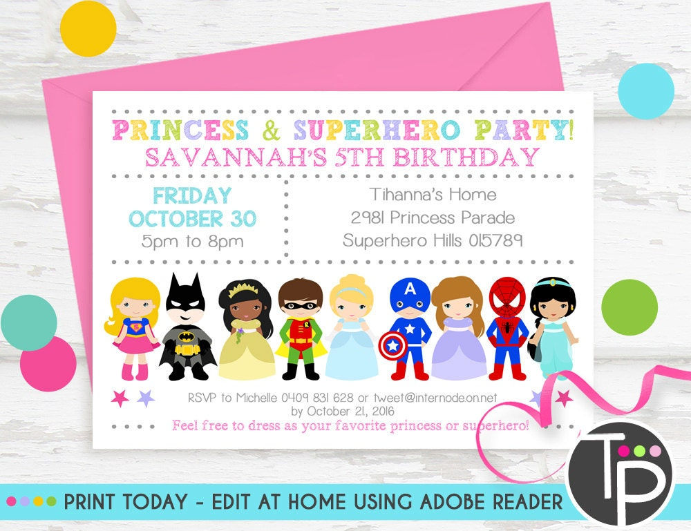 princess superhero party invitation instant download