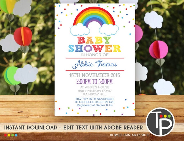 Rainbow baby shower invitation instant download rainbow baby etsy image 0 filmwisefo
