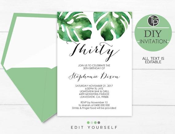 monstera leaf invitation instant download invitations leaves etsy