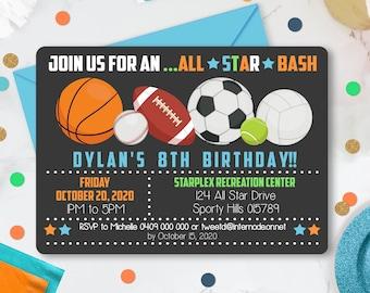 ALL STAR SPORTS Invitation Instant download Invitation Sport Party Printable Sport Party Invitation Editable All Star invitation Sport Party