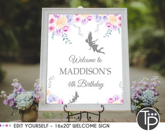 FAIRY WELCOME SIGN, Instant Download Welcome Sign, Fairy Welcome Sign, 16 x 20 Welcome Sign, Fairy Party, Edit yourself, easel sign