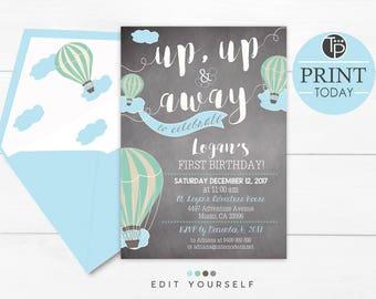 First Birthday Boy Invitations, Hot Air Balloon 1st Birthday Invitation, Instant Download, Boy invitations, Chalkboard Invitation, Hot Air