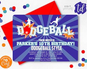 DODGEBALL INVITATION Instant Download Corjl Dodgeball Party Dodgeball Printable Dodgeball BIRTHDAY Invitation Kickball invitation Editable