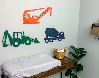 Construction Wall Decorations - Construction Theme Nursery - Backhoe sign -Cement Truck Sign-Crane Sign- Boy wooden construction theme decor