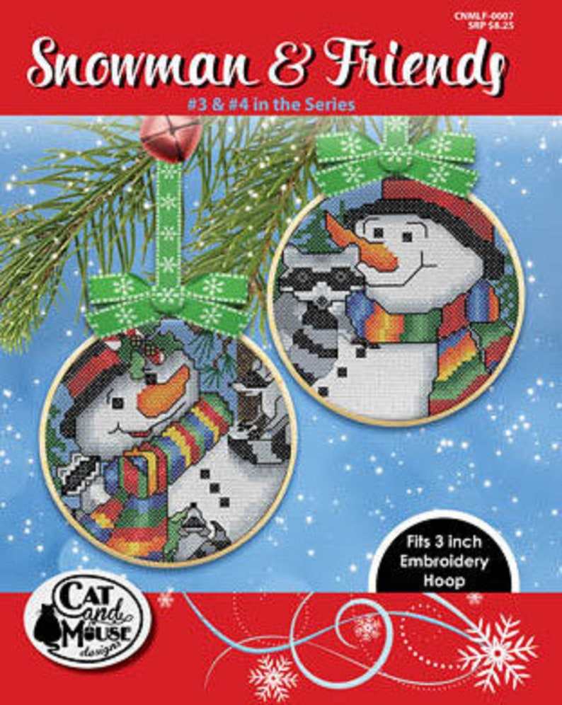 Snowman and Friends #1-2 OR Snowman and Friends #3-4--Brand New! Choice of Cat and Mouse Cross Stitch Leaflets