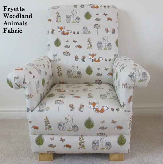 Fryetts Woodland Animals Fabric Child Chair Kids Armchair Owl Fox Beige Handcrafted Nursery Bedroom Playroom British Made New