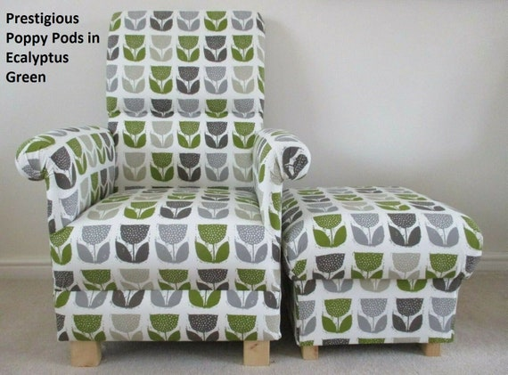 Incredible Prestigious Poppy Pods Fabric Adult Chair Footstool Armchair Eucalyptus Green Footstool Retro Style Floral Poppies Flowers Grey Nursery Pdpeps Interior Chair Design Pdpepsorg