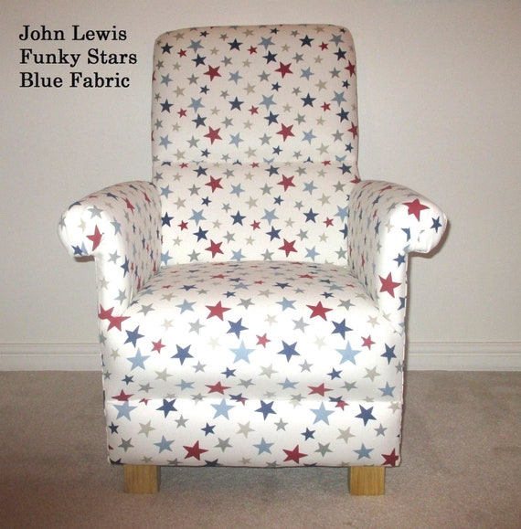 Brilliant John Lewis Funky Stars Blue Fabric Adult Chair Occasional Nursery Nursing Lounge Red White Handcrafted In Britain Dailytribune Chair Design For Home Dailytribuneorg