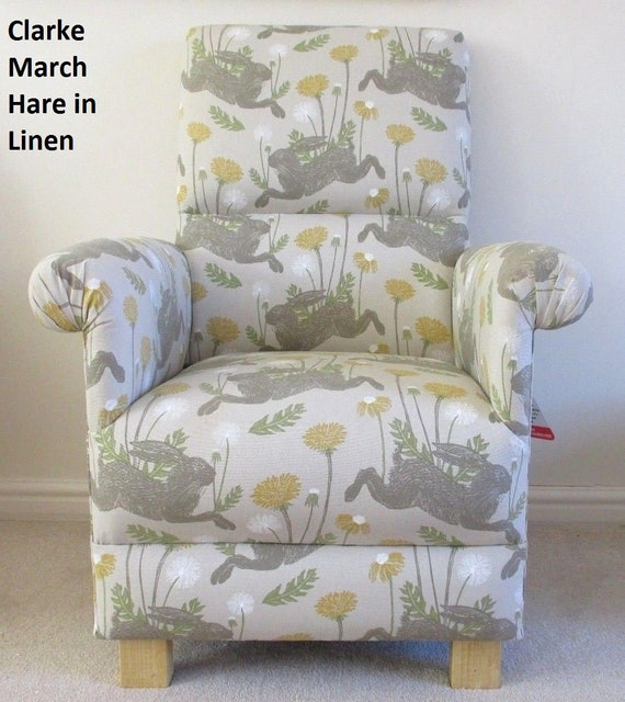Clarke and Clarke MARCH HARE Rabbit FABRIC By The Metre Linen Ochre Yellow