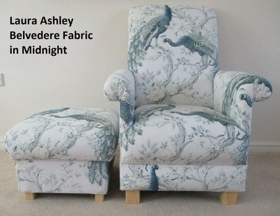 Strange Laura Ashley Belvedere Midnight Fabric Adult Chair Footstool Armchair Pouffe Bedroom Blue Accent Nursery Nursing Conservatory Peacocks Pabps2019 Chair Design Images Pabps2019Com