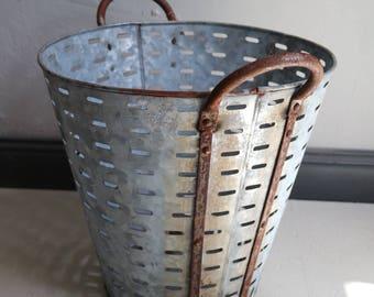 antique olive basket box crate