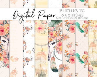Boho Chic Digital Paper Floral Background Pack Scrapbooking Patterns Planner Clipart