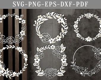 floral wreath bundle papercut template, bundle of 6 floral svg cut files, wreath scrapbook flowers, silhouette cameo, cricut dxf eps, png