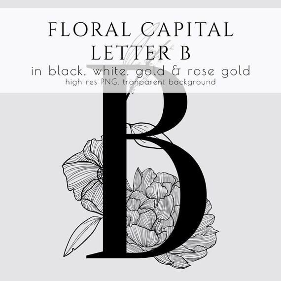 floral letter floral initial floral monogram branding floral clipart commercial use wedding invitation png gold foil logo rose gold