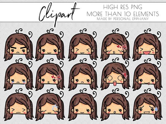 emoji clipart, emoticons clipart, commercial use, emoji cute planner girl,  scrapbooking, face kawaii, mood tracker png, smiley face, sticker