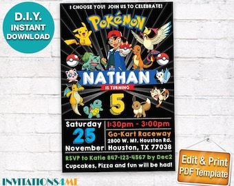 Pokemon Invitation INSTANT DOWNLOAD Birthday Party Invite