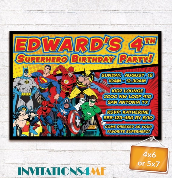 Justice League Invitations Free: Superhero Invitation Justice League Birthday Party Superman