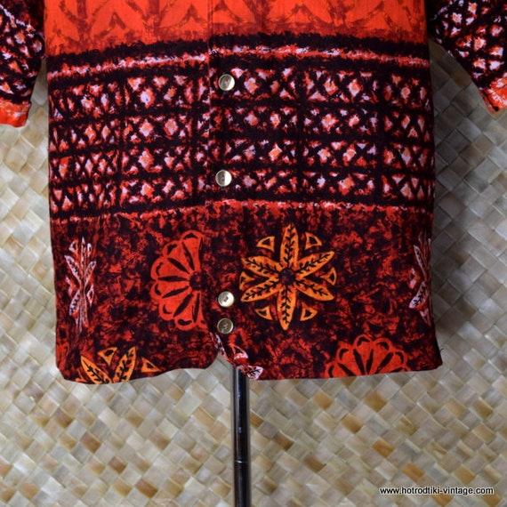 1960 ' s Vintage Mens hawaïen «Iolani Hazard Jac» Sshirt hawaïen Mens rouge 813612