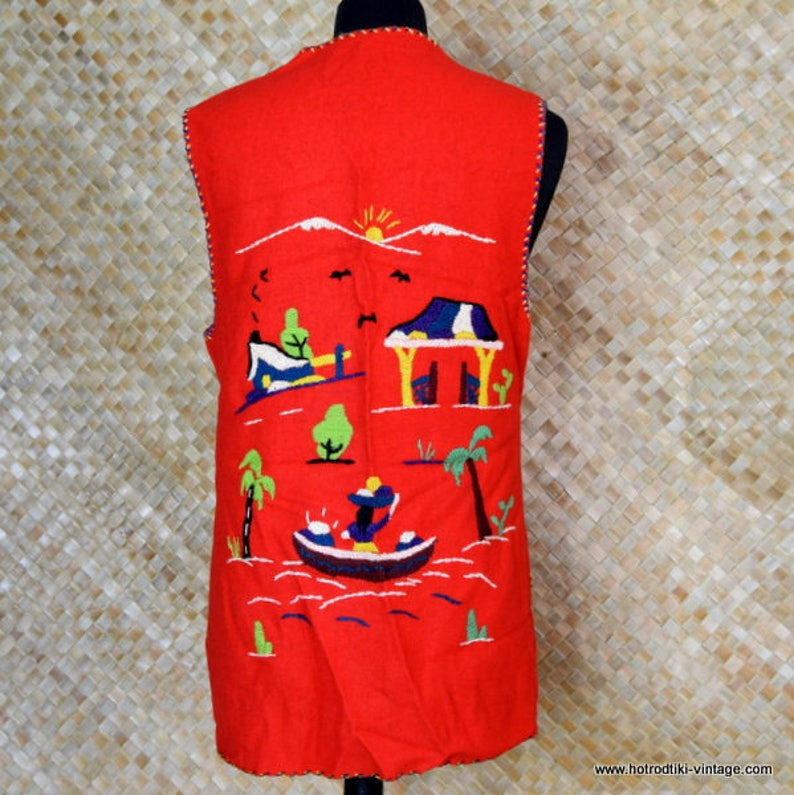 1950/'s Ladies Vintage Mexican Tourist Waistcoat in Red
