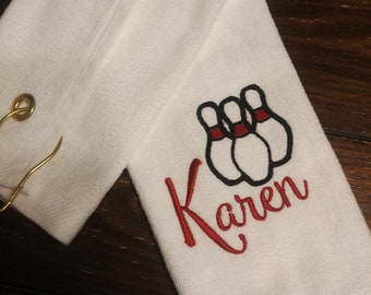 BOWLING TOWEL ~ Velour Sports Towel w/ Grommet PERSONALIZED Team Tournament League Gift Towel /  Men Women Ladies - Groomsmen - Customize!