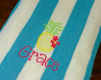 PERSONALIZED BEACH TOWEL ~ Pineapple ~ Vacation Beach Trip Cruise Summer Camp  Pool Swim Lessons / Party Favor - Lightweight Terry or Velour