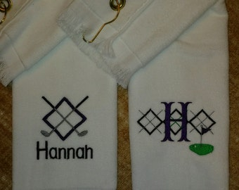PERSONALIZED GOLF SET ~ Customized Monogrammed Velour Golf Towels w/ Grommet ~  Team Gift Ladies Women Woman  Mother Daughter Preppy Argyle