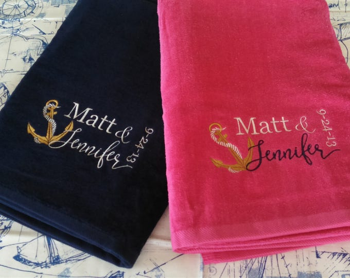 Featured listing image: MR. & MRS. Anchor Personalized Beach Towel Set Wedding Anniversary Honeymoon Cruise / Husband Wife Gift / Beach Destination Wedding - CUSTOM