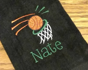 BASKETBALL Velour Sports Towel w/ Grommet / PERSONALIZED Monogram / Team Tournament League Gift Trophy Towel / Men Son Father / Customize!