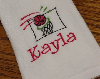 BASKETBALL Velour Sports Towel w/ Grommet / PERSONALIZED Monogram / Team Tournament League Gift Trophy Towel /  Customize!