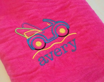 Kids PERSONALIZED BEACH TOWEL ~ Surf Surfing Buggy ~ Vacation Beach Trip Cruise Summer Camp / Pool Party Swim - Velour Custom Towel Gift