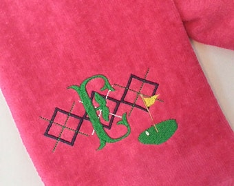 LADIES Hot Pink ~ Argyle Golf Custom Embroidered PERSONALIZED Velour Golf Towel w/ Grommet MONOGRAMMED ~ Gift ~ Ladies Women Gift - Preppy