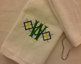 Classic ~ Preppy Ladies Argyle PERSONALIZED Velour TENNIS TOWEL w/ Grommet Monogrammed ~ Graduation Team Gift Mother Daughter ~ Choose Color
