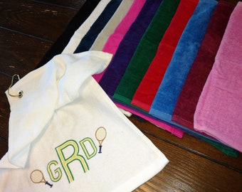 TENNIS TOWEL ~ Velour Sports Towel w/ Grommet PERSONALIZED Father Mother Grandparent Team Tournament Gift Towel - Monogrammed Monogram