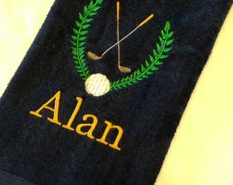 GOLF TOWEL ~ Velour Sports Towel w/ Grommet PERSONALIZED Father Son Team Tournament Gift Trophy Towel / Groomsmen Bachelor Party - Customize