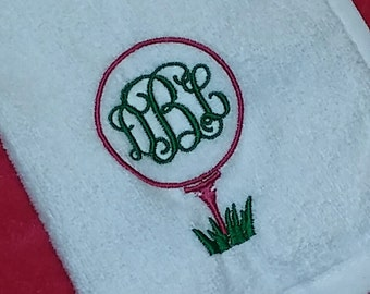 "Ladies ""Golf Tee & Ball"" Custom Embroidered PERSONALIZED Velour Golf Towel w/ Grommet Monogrammed ~ Club Gift ~ Ladies Women Gift - Preppy!"