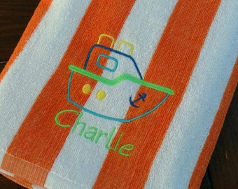 PERSONALIZED BEACH TOWEL ~ Boat ~ Vacation Beach Trip Cruise Summer Nautical  Pool Swim Lessons / Party Favor - Lightweight Terry or Velour
